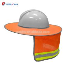 De calidad superior HI VIZ Naranja Full-Brim Safety Sunshield, 100% Polyester Mesh Cool Neck Sombrilla para Hardhats con tiras reflectantes