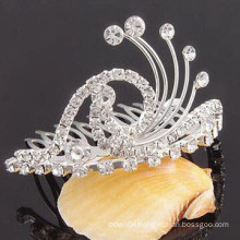 fashion metal silver plated crystal tiara clip