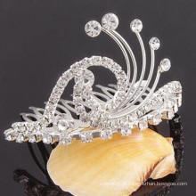Moda metal prata banhado clip de tiara de cristal
