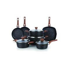 Amazon top sell 2019 forged aluminium stone non stick coating granite kitchen cookware set
