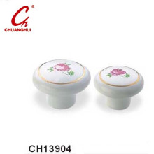 Besutuful Ceramic Knob Handles with Flower Pattern (CH13904)