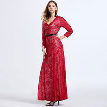 Special Occasion Designed Long Sleeve Sexy Red Lace Evening Dress