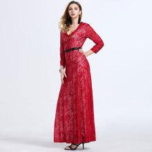 Robe de soirée à encolure rouge sexy à manches longues