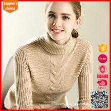 2017 Suéter de cachemira del camello del suéter del cuello alto de la cachemira de las nuevas mujeres