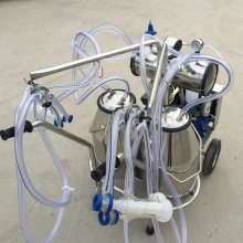 Double barrels Vacuum pump movable milking machine