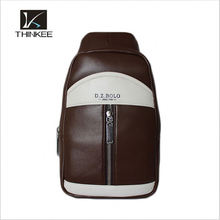 smart style canvas leather chest bag for men