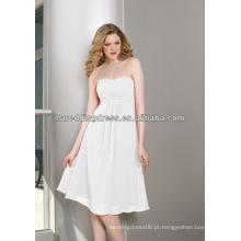 HB2018 fábrica de fábrica branca no estoque em menos de 100 dólares branco recolhido chiffon comprimento do joelho zíper mais barato vestidos de dama de honra