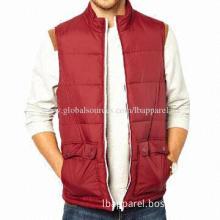 Red Color New Design Your Own Men's Vest, OEM/ODM Services Provided, Slanted Side Pockets