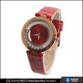 alloy case genuine leather watch women gold watch