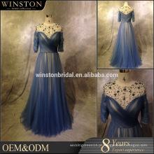 2016 Guangzhou Fornecedor vestido de casamento de comprimento de chá com mangas
