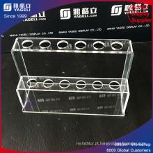 Suporte de caneta de acrílico transparente com entalhes, Suporte de tubo de teste