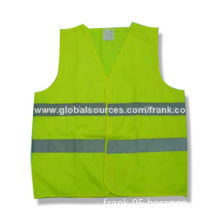 Reflective Safety Vest, Made of 100% Polyester Tricot Fabric