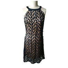Newest Fahshion Jacquard Lace Sleeveless Round Neck Women′s Dress