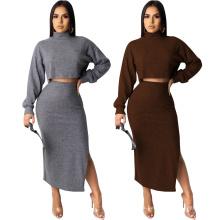 Fall Autumn Warm Fashion Long Sleeve Dress Sexy Women Clothing Winter Skirt Formal Women Dress Two Piece Set