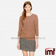 Nuevo estilo clásico crewneck suéter de cachemira puro suéter rinden para dama