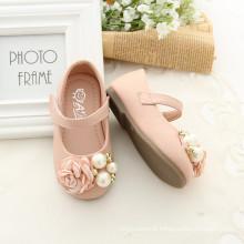 Sapatos de abertura quadrada Appliqued Sapatos de bebê por atacado com boa qualidade Beaded Flower Appliqued Shoes