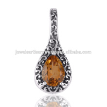 Citrine Gemstone 925 Solid Silver Pendant Jewelry