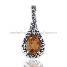 Цитрин Драгоценных Камней 925 Твердое Серебро Кулон Ювелирные Изделия