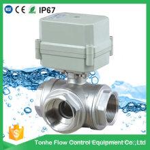 Válvula de bola accionada motorizada de acero inoxidable304 de 3 maneras (T25-S3-C)