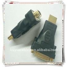 Macho HDMI plateado oro a la hembra DVI-I 24 + adaptador del convertidor de 5 DVI
