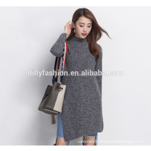 Fashion side slit cashmere sweater knit womens round neck long sweater