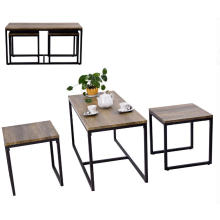 Metal and Wood Tea Table and Chairs Set