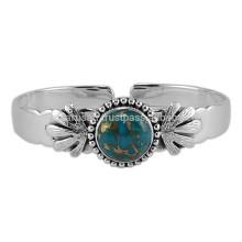 Magnifique Bracelet en Cuir Bleu et Bracelet en Cristal Argenté 925 Sterling pour Cadeau