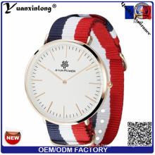 Yxl-492 Moda Unisex Estilo Militar Nylon Correa Nato Reloj Cuarzo Reloj Simple Diseño Hombres Mujeres Relojes