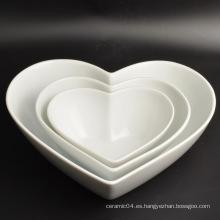 Nuevo Diseño Decoración Plato de Vajilla de Porcelana en Forma de Corazón
