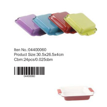Colorful ceramic cake pan with silicone handle