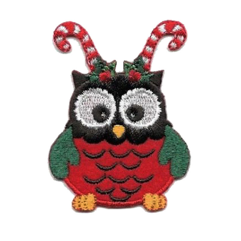 Owl Christmas Candy Cane Embroidered Patch