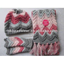 girls fashionable winter hand crocheted hat, glove and scarf set