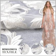 Tecido de renda branca de poliéster confortável Designer para vestido de noiva