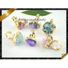 Nuevos anillos de Druzy de la llegada, anillos de dedo al por mayor de la piedra para las mujeres (FR008)