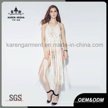 V-Neck Handknit Tie Back Fringe Swimwear