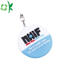 Silicone Key Chain Embossed Round Shape Souvenir Keyring