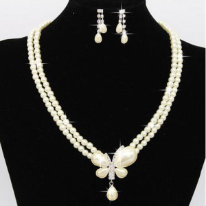 Fashion Pearls Necklace Sets With Butterfly Pendant