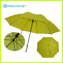 Parapluie de golf droit jaune coupe-vent 30inch * 8k promotionnel