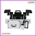 Profesional de viaje de maquillaje caso de color plata maquillaje maleta sobre ruedas (satccm017)
