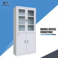 Two section metal glass door storage cabinet