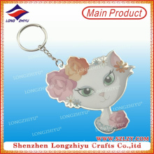 Lovely Epoxy Printed Cat Shape Key Pendant Keychain