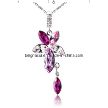 Sw Elements Crystal Rose Colour Flower e Waterdrop Colares Jóias