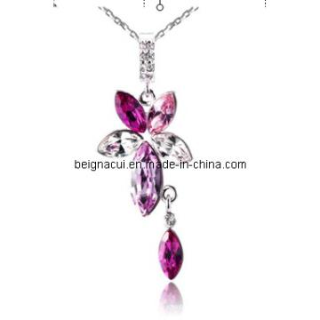 Sw Elements Kristall Rose Farbe Blume und Waterdrop Halsketten Schmuck