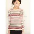 Women's Cashmere Tee Stripe Wool Sweater