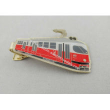 3d Brass Photo Personalized Tie Bar Etched With Soft Enamel , Gold Plating