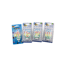 Birthday Number Candles Colorful (0-9) Nummer Kaars
