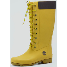 Yellow And Black Women  Rubber Lace Rain Boots