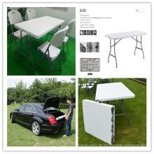 6ft Lightweight Portable HDPE Plástico Blow Mold Table / Leisure Garden Ergonomic Banquet Catering Dining Wedding Folding em Half Rectangular Table (HQ-Z180C)