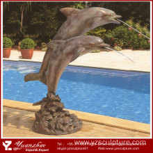 Garden Decoration Bronze Dolphins Water Fountain