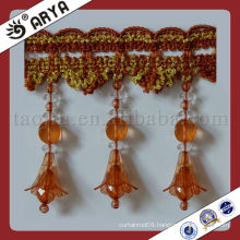 Curtain beads lace fabric trim tassel fringe,used for drapes,cushions,curtain and accessories